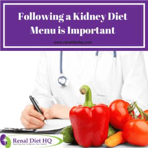 Following a Kidney Diet Menu is Important